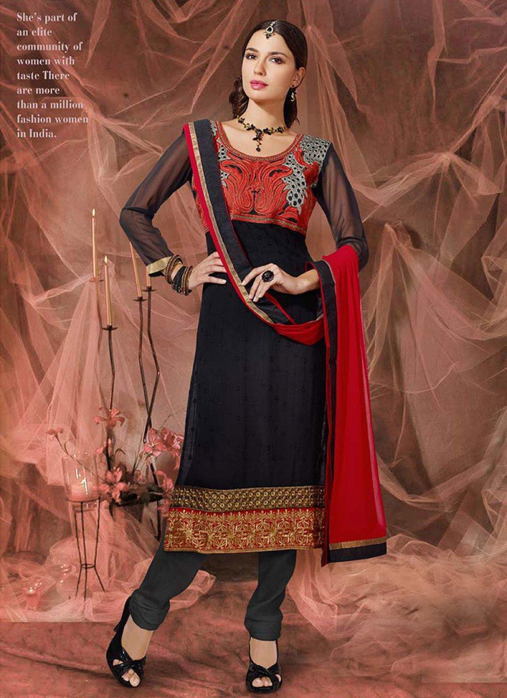 Red And Black Zari Work Churidar Suit