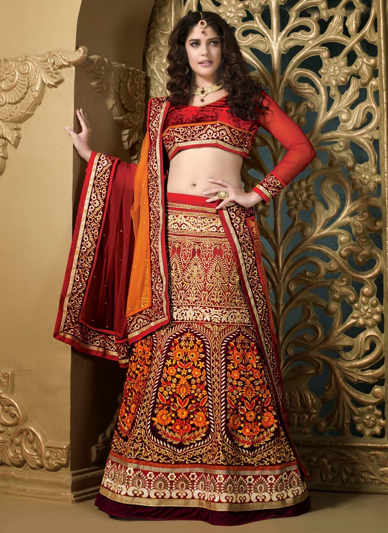 Red And Wine Net Heavy Embroidered Lehenga Choli
