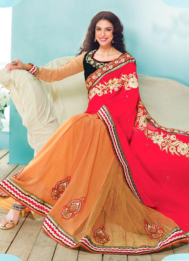 Red Velvet Designer Lehenga Saree