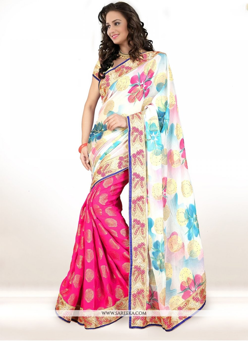 Viscose Patch Border Work Half N Half  Saree