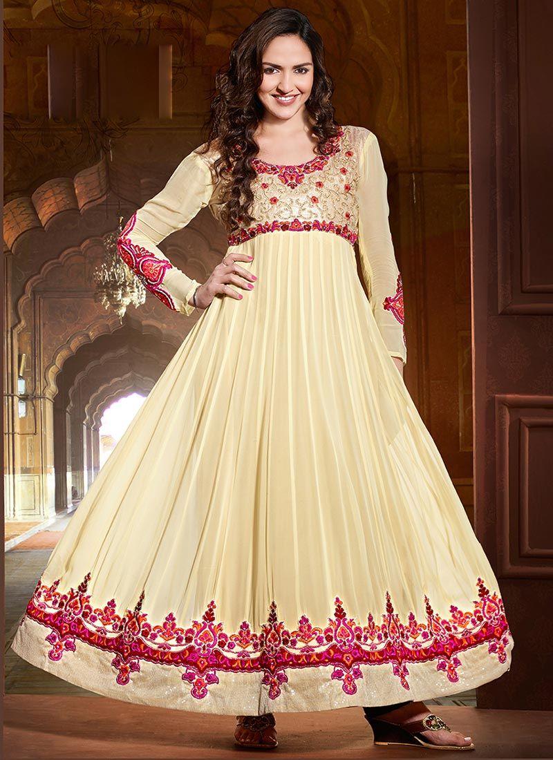 Esha Deol Cream Georgette Anarkali Suit - Salwar Kameez