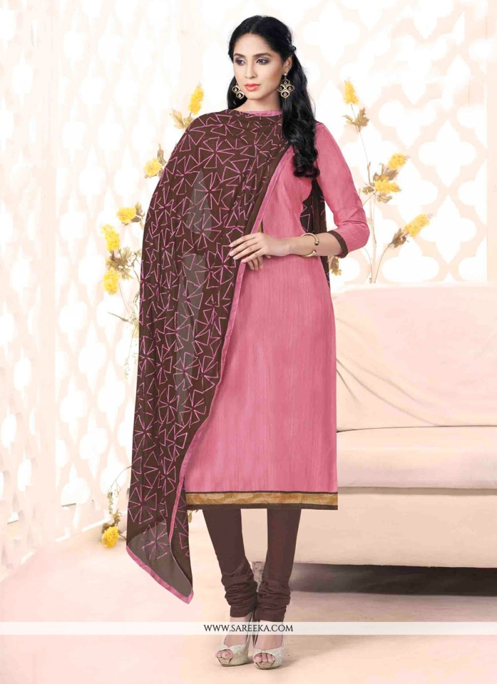 Bhagalpuri Silk Lace Work Churidar Suit