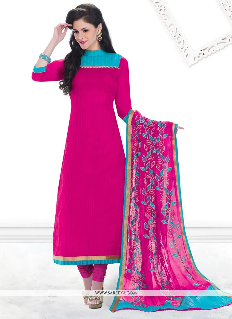 Chanderi Hot Pink Lace Work Churidar Designer Suit