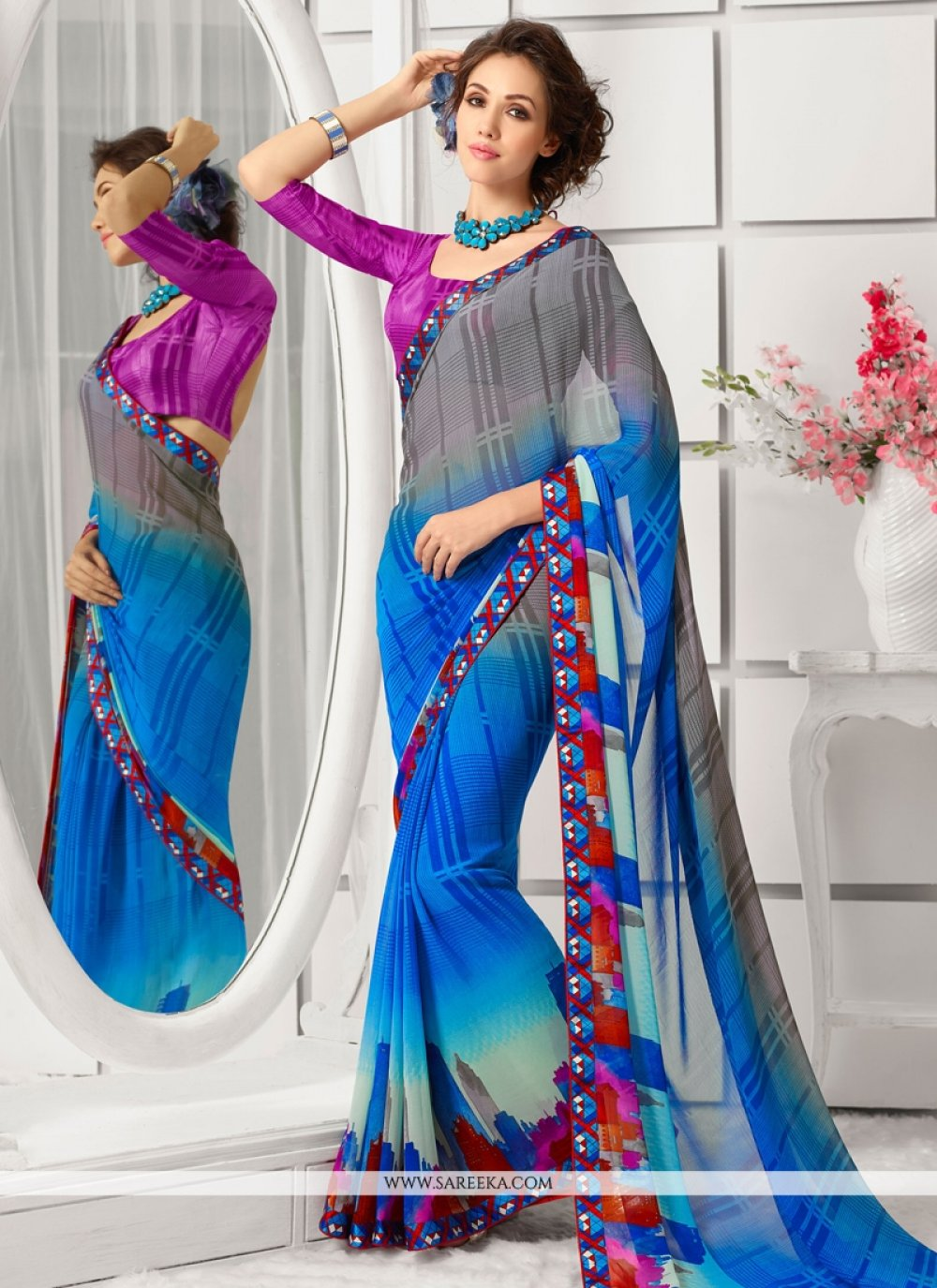 Georgette Blue and Grey Lace Work Casual Saree