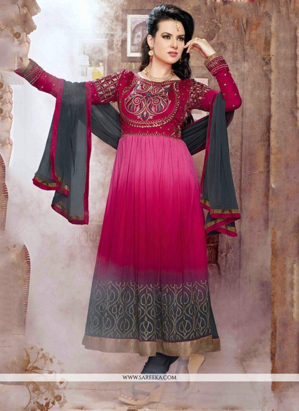 Georgette Hot Pink and Red Resham Work Anarkali Salwar Suit