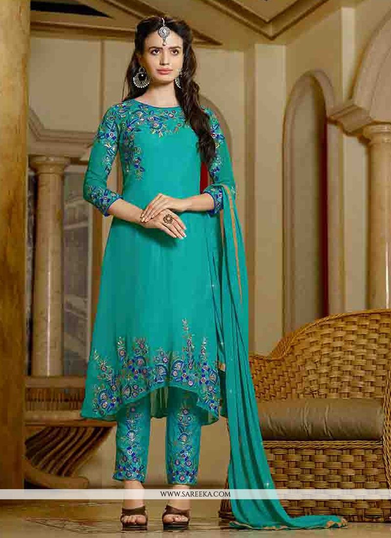 Georgette Teal Designer Straight Salwar Kameez