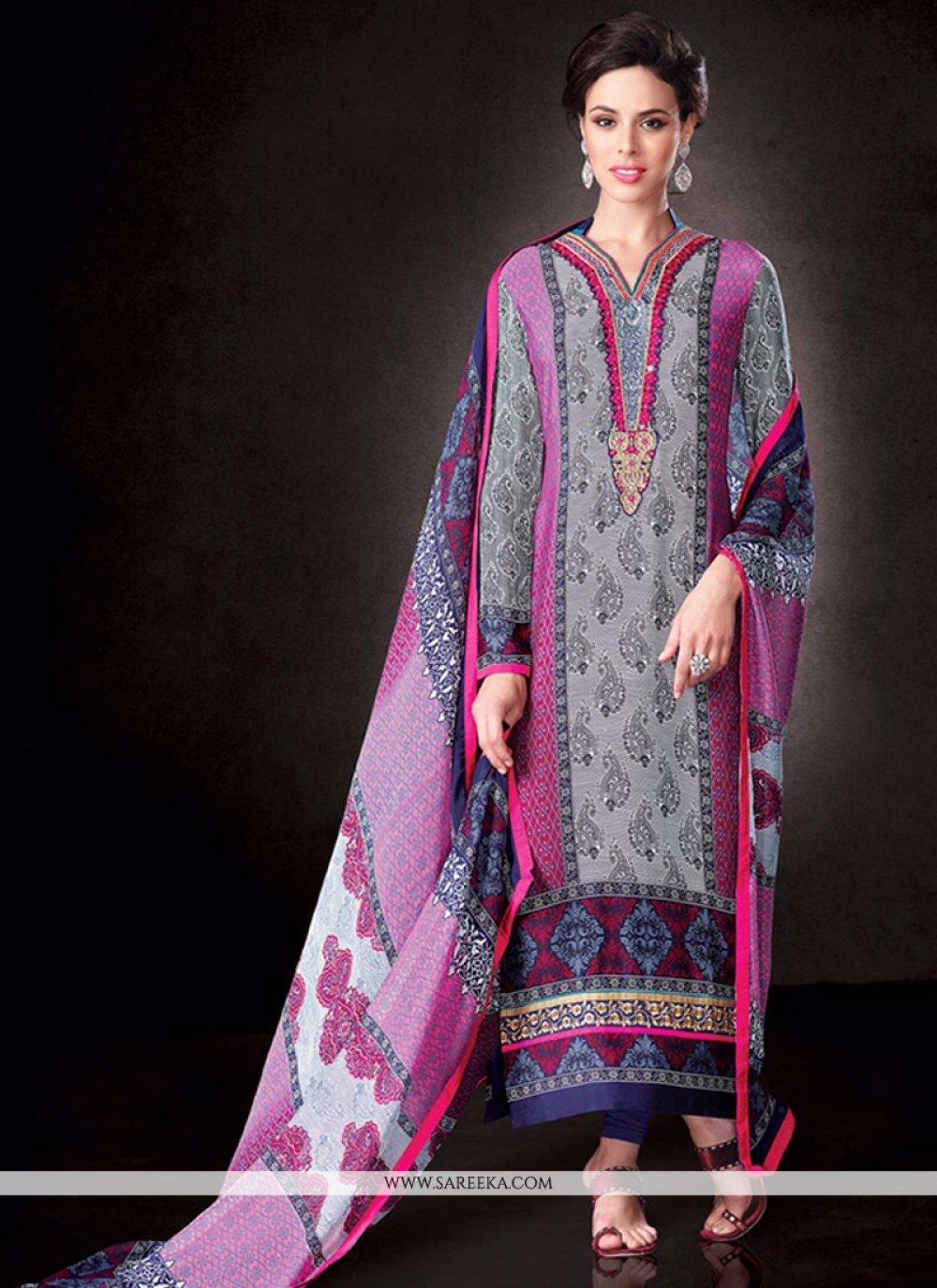 Print Work Designer Straight Salwar Kameez