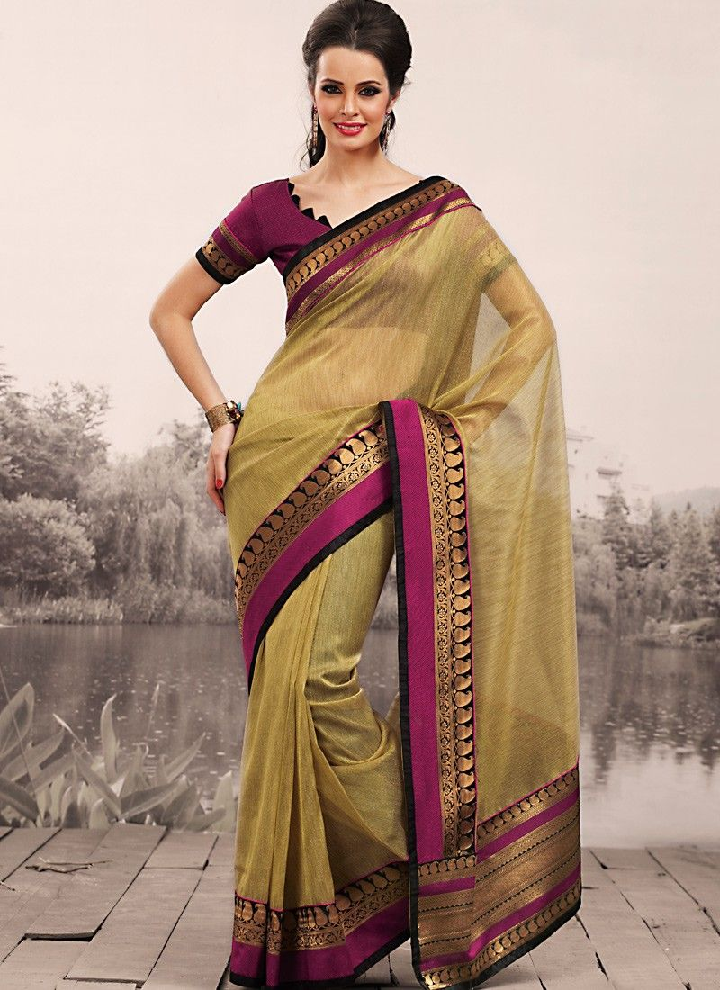 Bige Brown Embroidered Saree