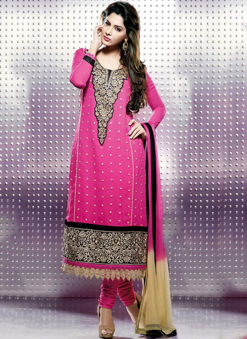 Black And Pink Designer Churidar Suit