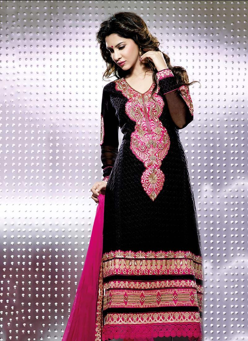 Black And Pink Resham Work Churidar Suit