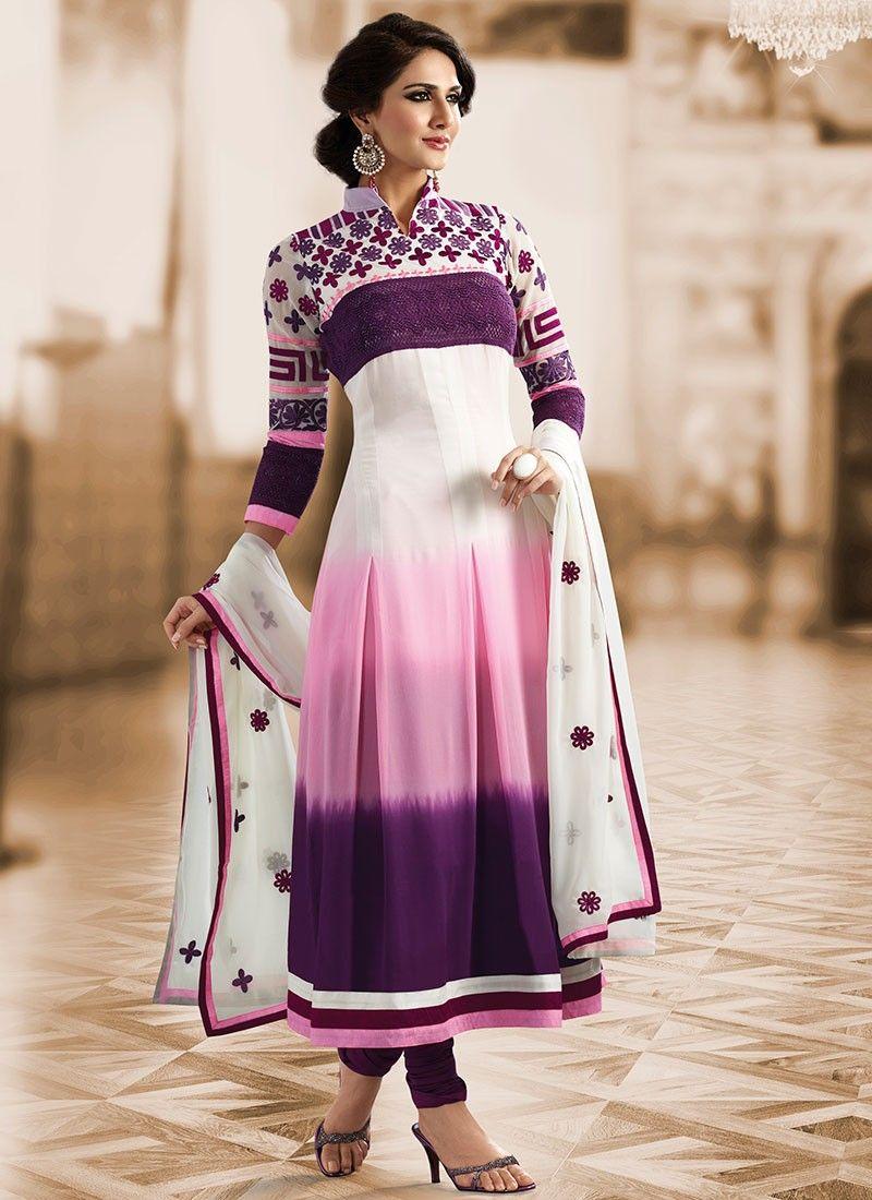 Bluish Purple, Pink & White Salwar Kameez