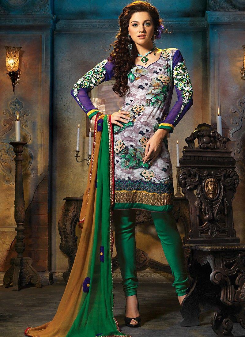 Bluish Purple & Silver Salwar Kameez