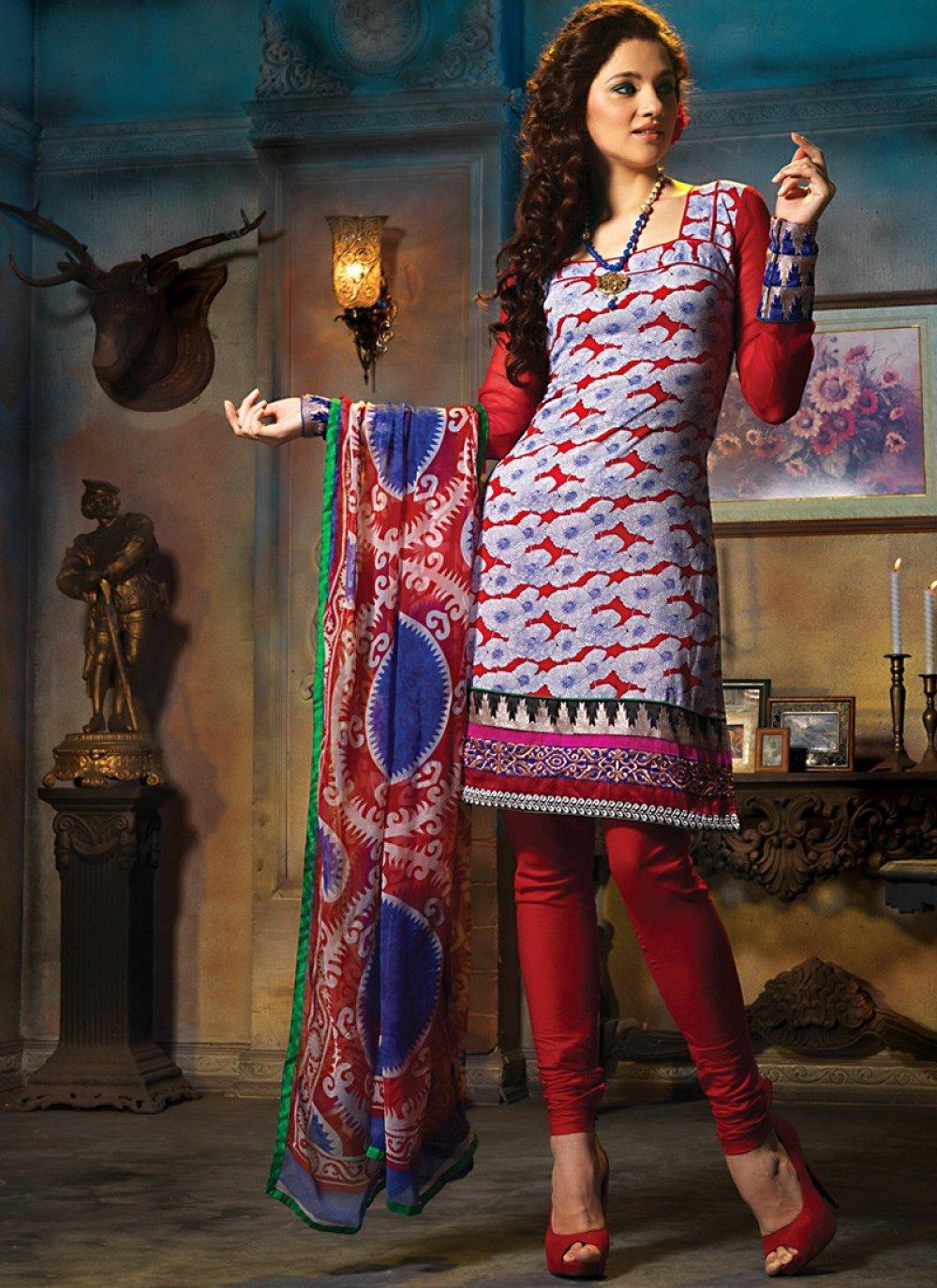 Brick Red & Bluish Purple Salwar Kameez