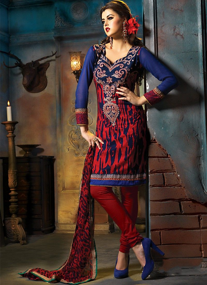 Brick Red & Navy Blue Salwar Kameez