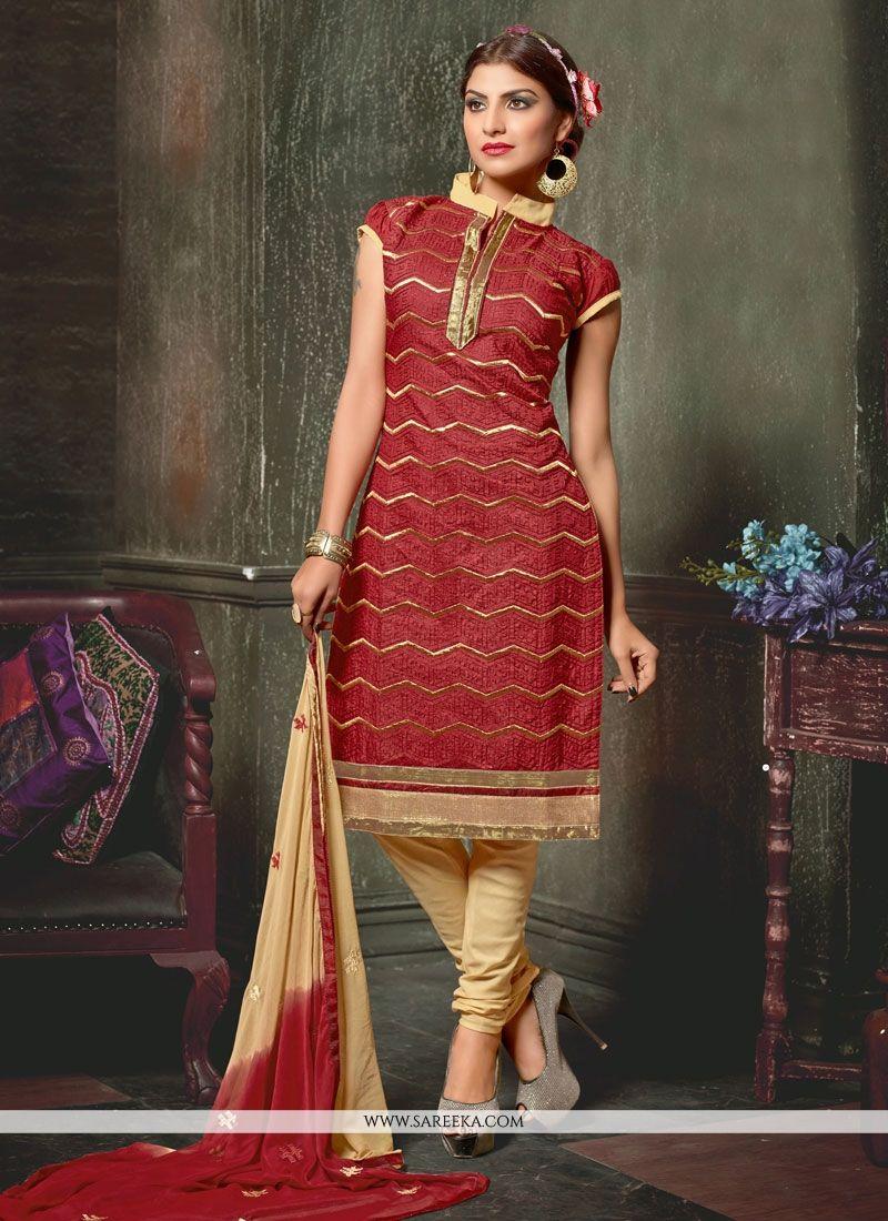 Chanderi Lace Work Churidar Designer Suit