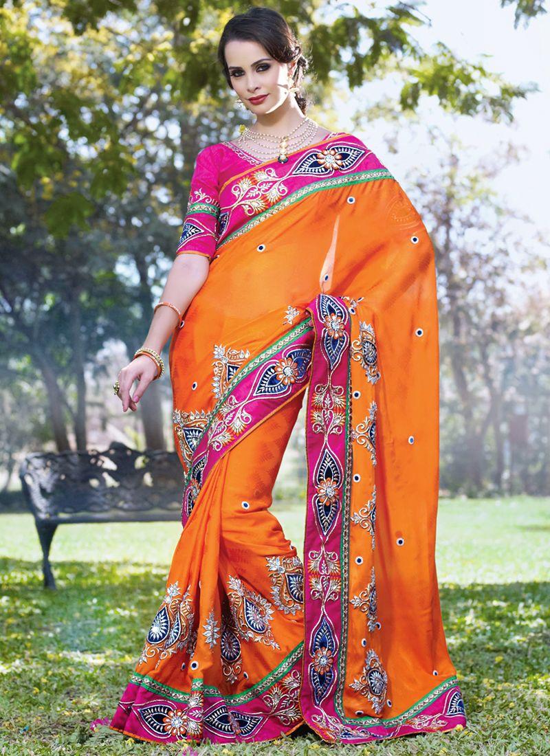 Deep Orange & Deep Pink Embroidered Saree
