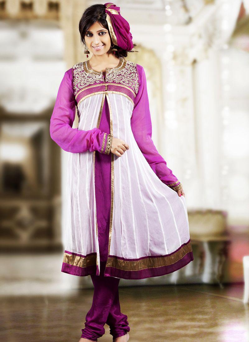 Deep Pink & White Salwar Kameez