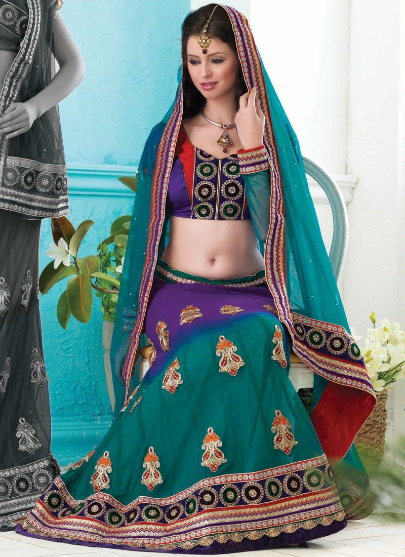 Deep Purple & Tal Blue Lehenga Choli