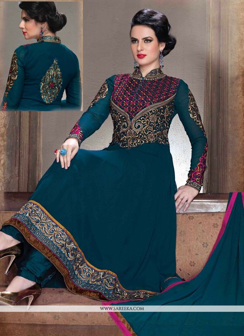 Georgette Resham Work Anarkali Salwar Suit