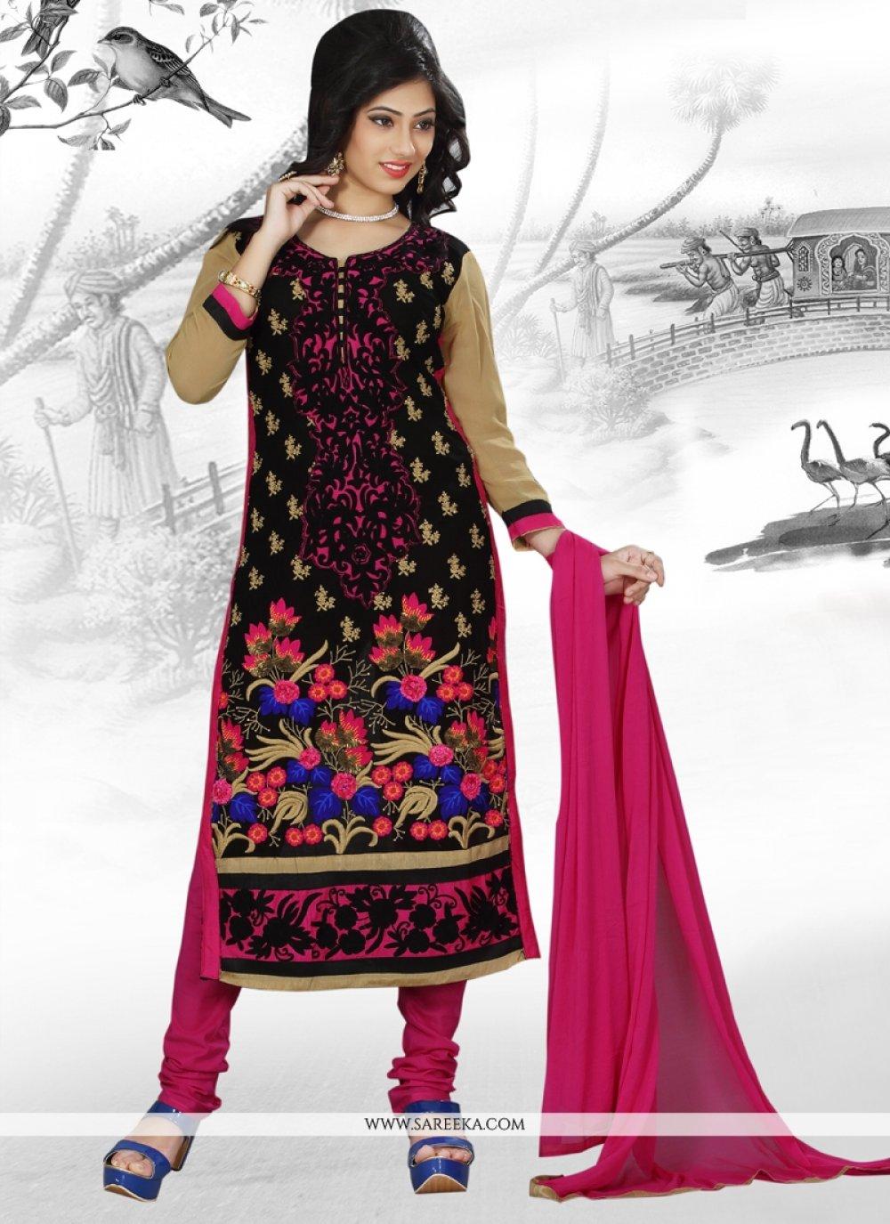 Multi Colour Georgette Churidar Designer Suit