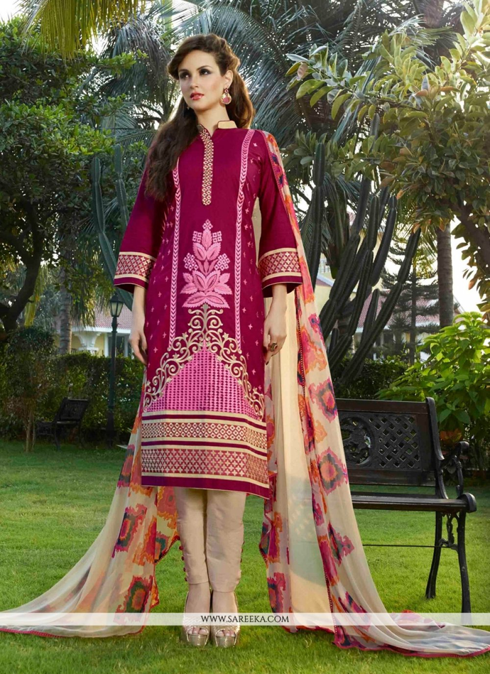 Resham Work Cotton Satin Magenta Churidar Designer Suit