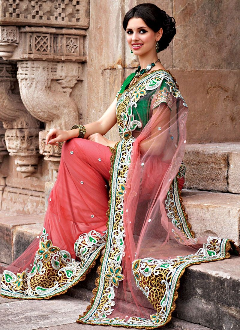 Evoking Coral Net Saree
