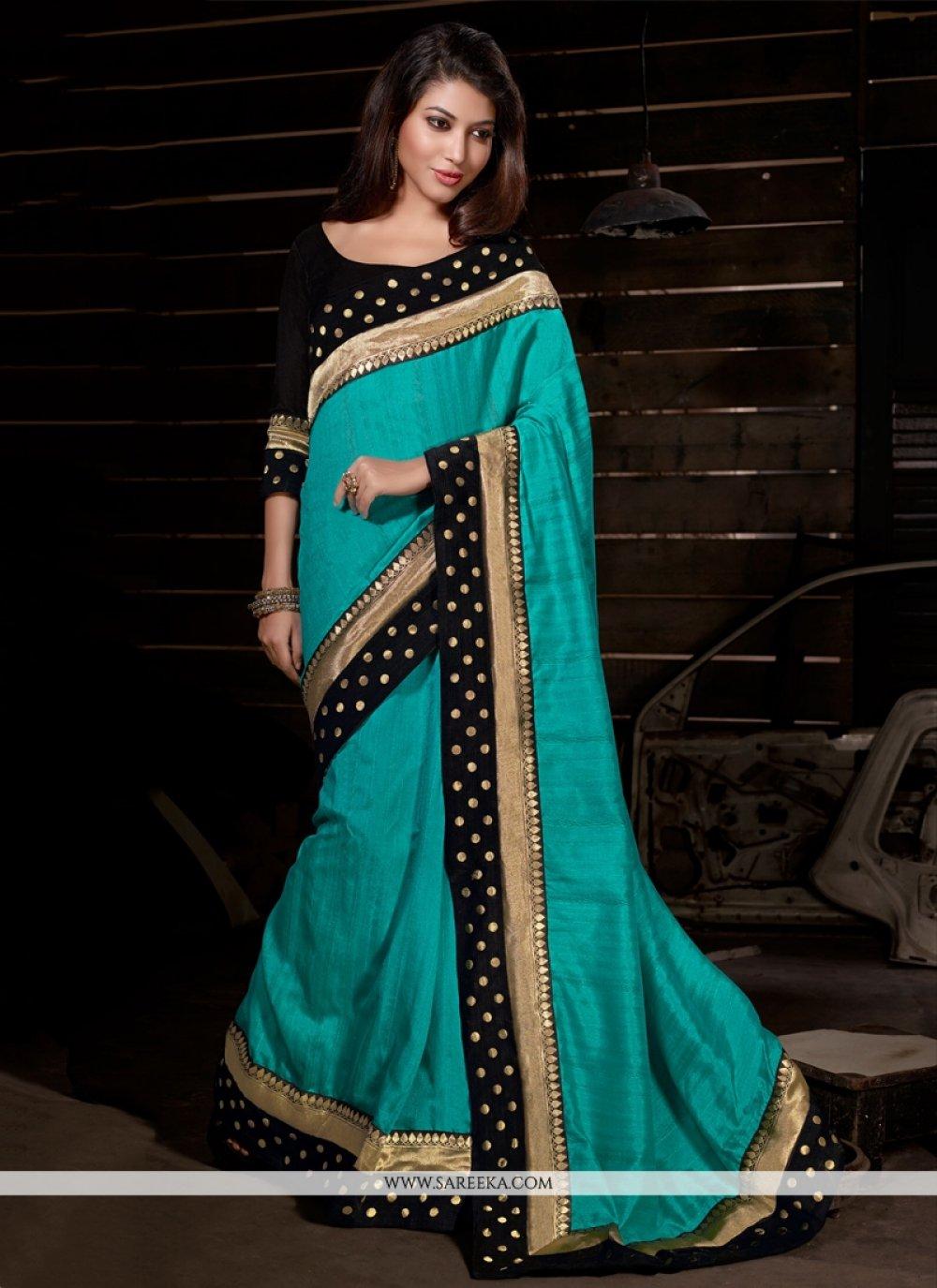 Bhagalpuri Silk Turquoise Patch Border Work Casual Saree