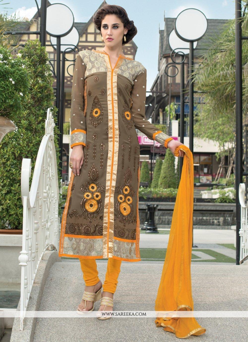Grey and Brown Churidar Designer Suit