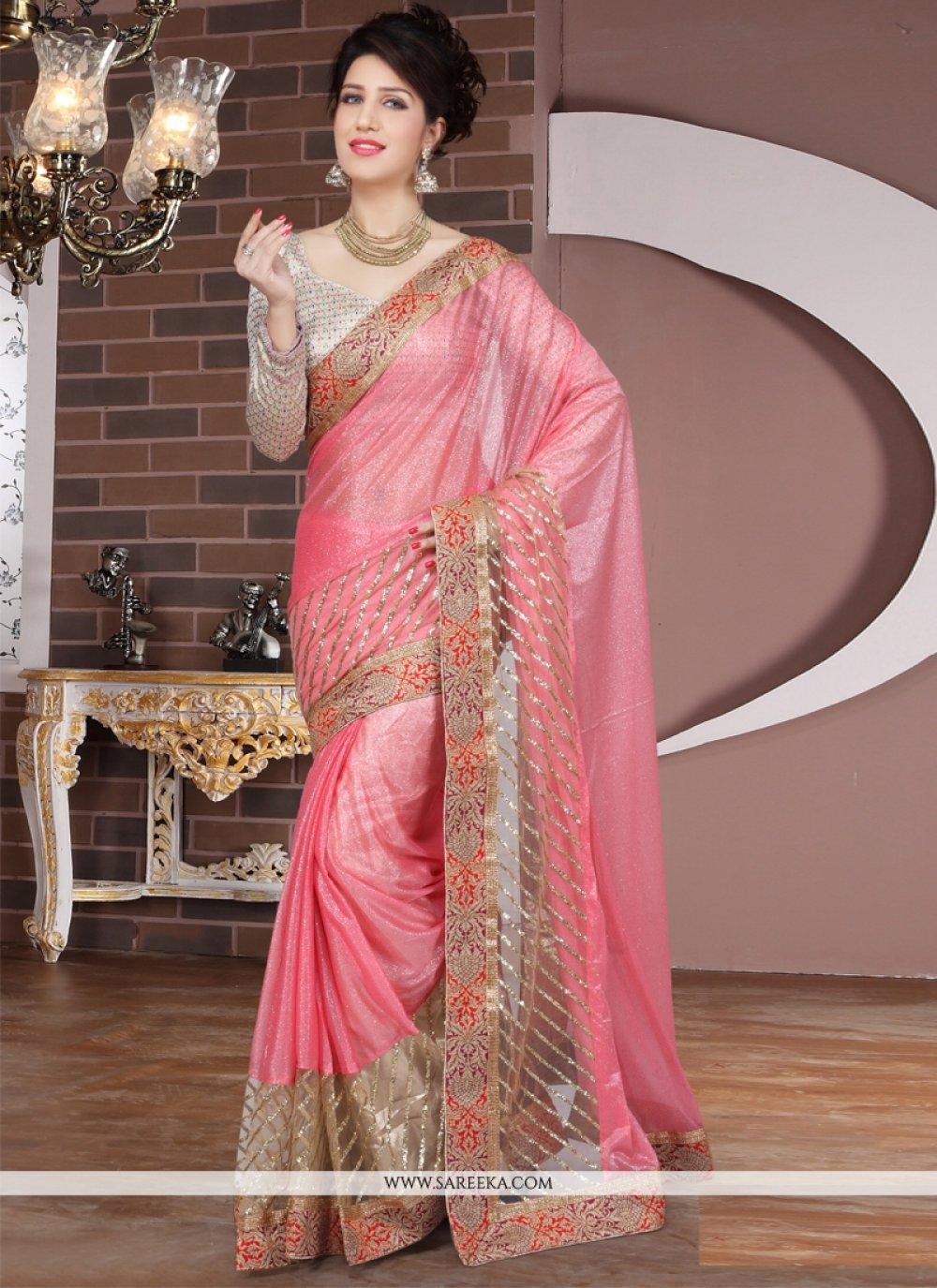 Hot Pink Zari Work Designer Saree