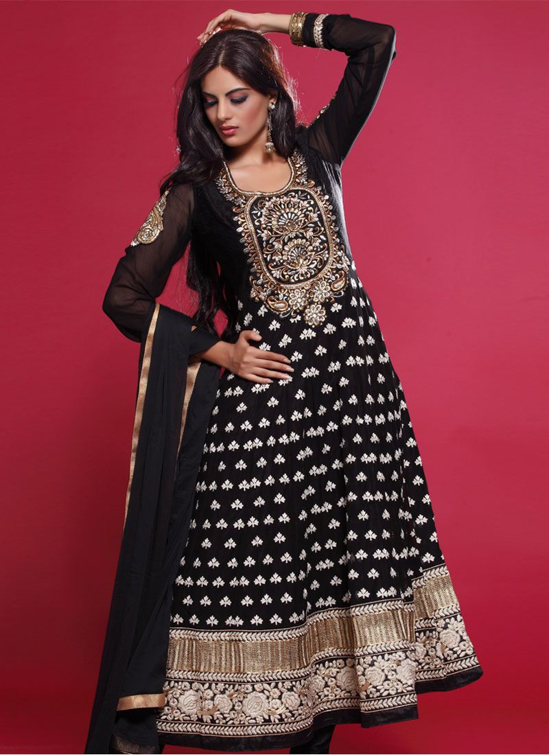 Black Stone Work Designer Anarkali Suit