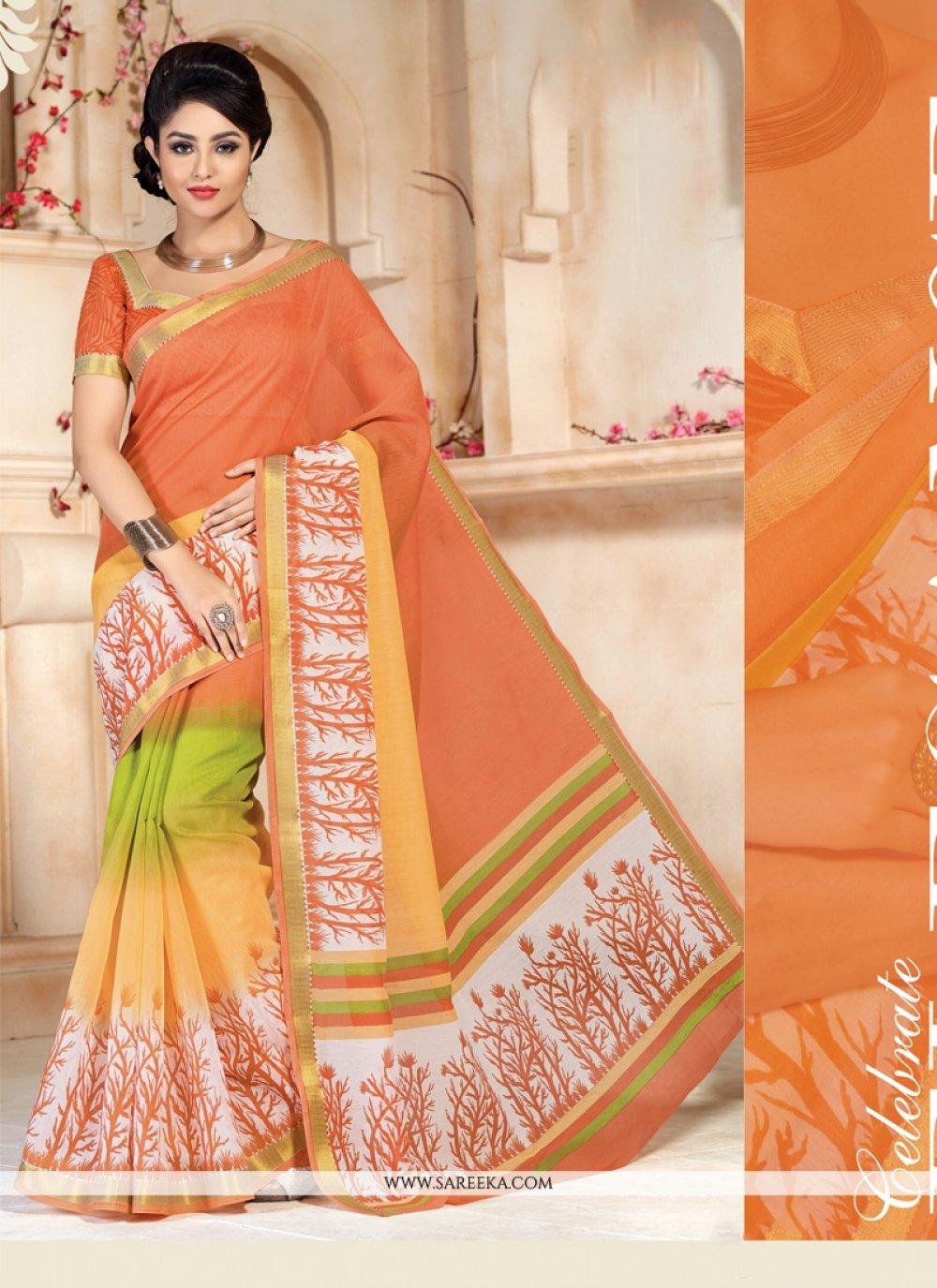 Cotton   Orange Lace Work Casual Saree