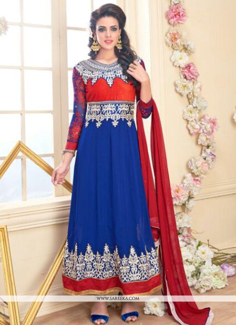 Embroidered Work Anarkali Salwar Suit