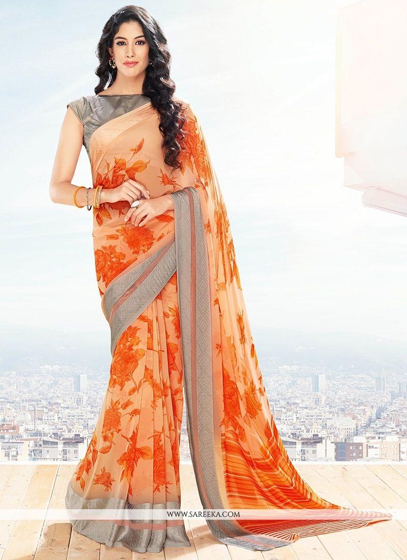 Georgette Orange Lace Work Casual Saree