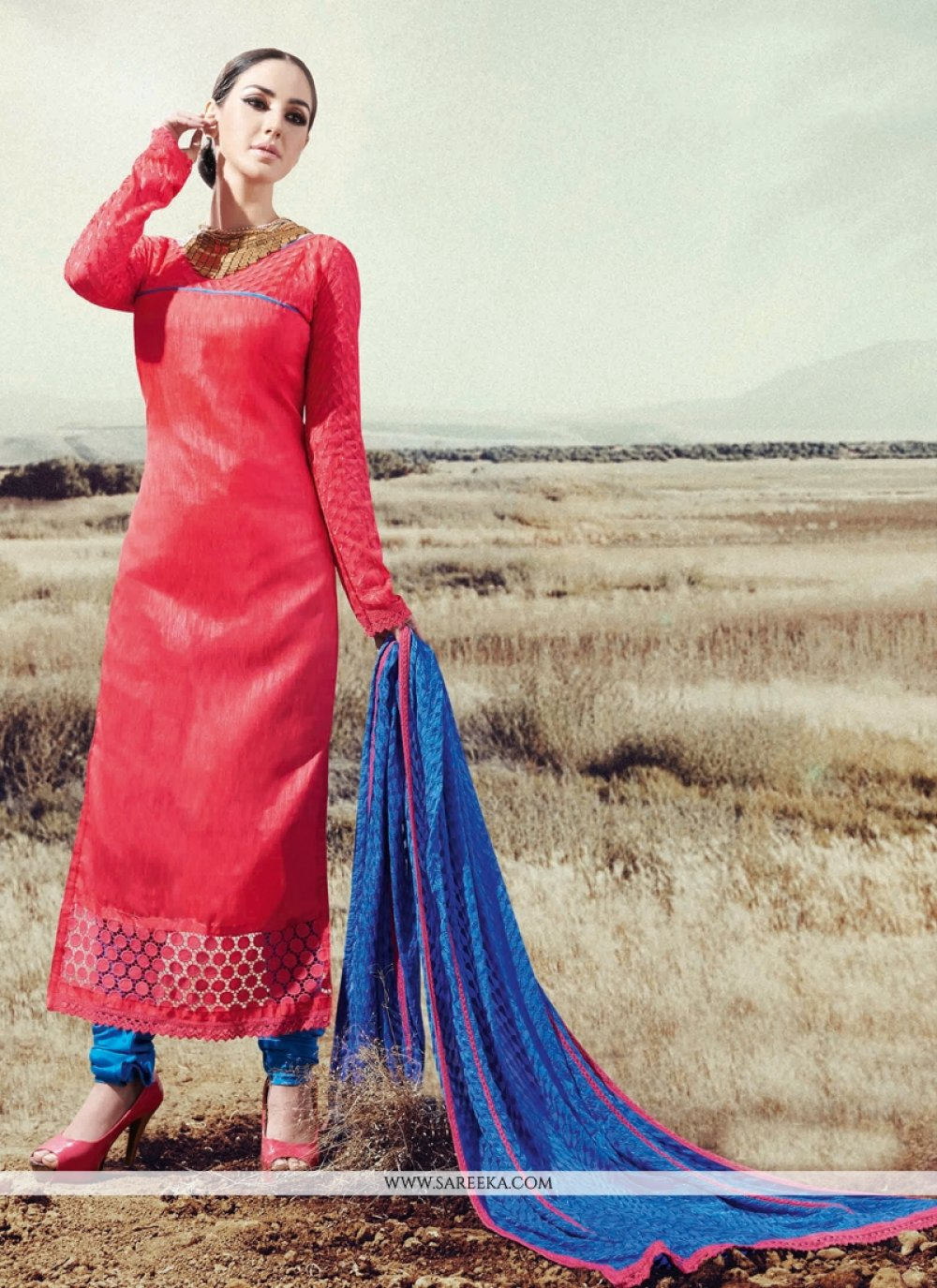 Lace Work Pink Designer Straight Suit