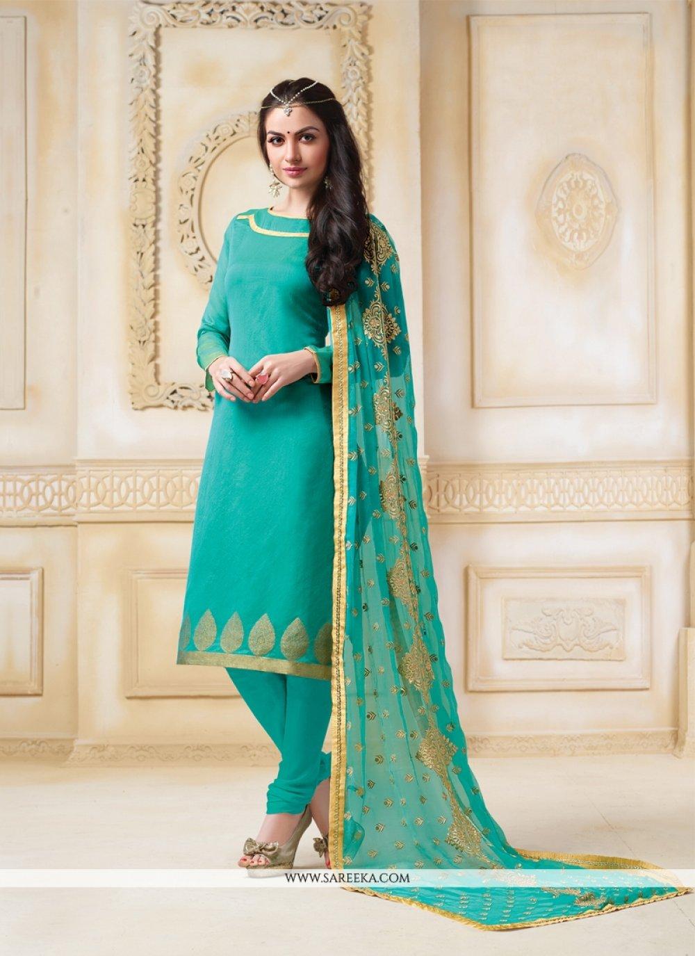 Lace Work Sea Green Banarasi Silk Churidar Salwar Suit