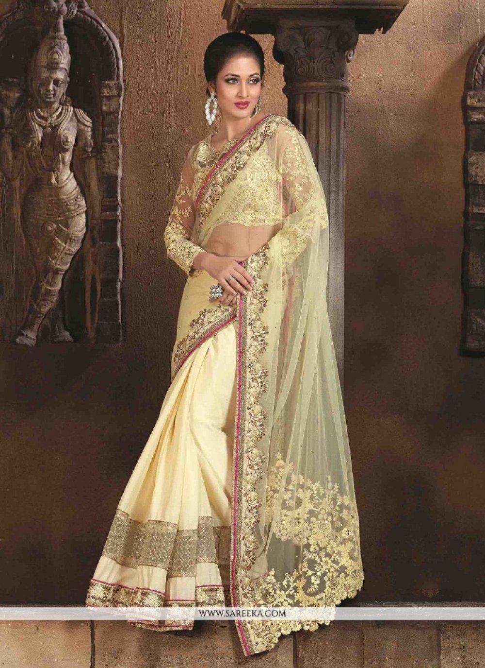 Net Cream Designer Saree