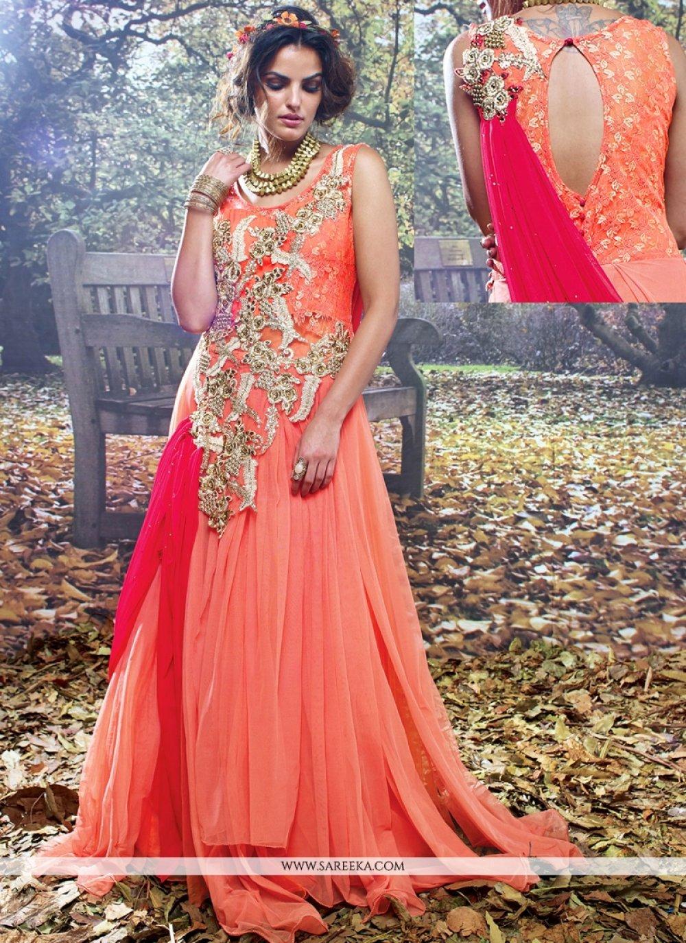 Orange and Pink Resham Work Designer Gown