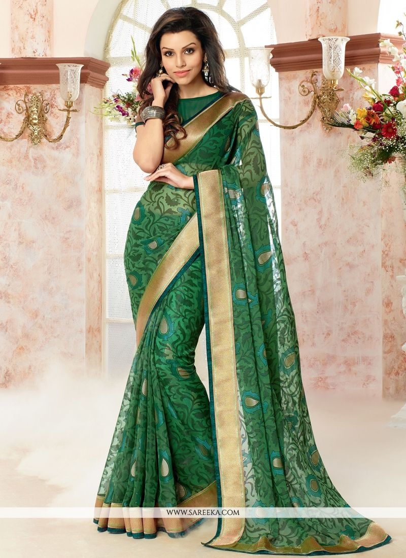 Patch Border Work Brasso Georgette Casual Saree