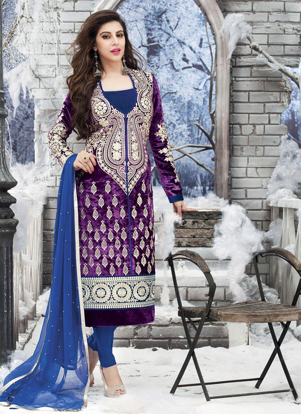 Violet Velvet Churidar Suit