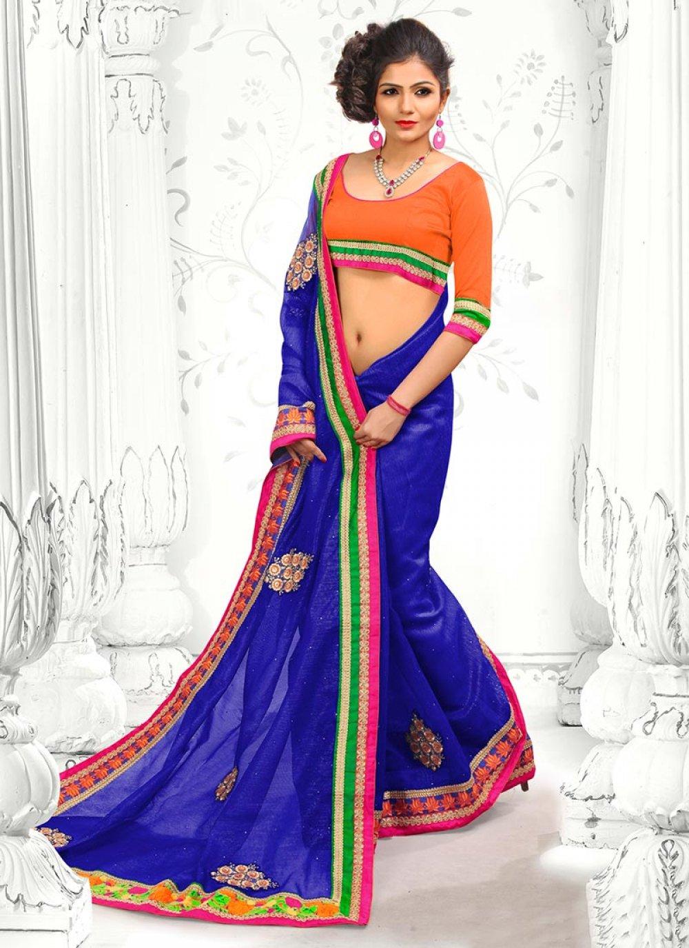 Blue Supernet Designer Saree