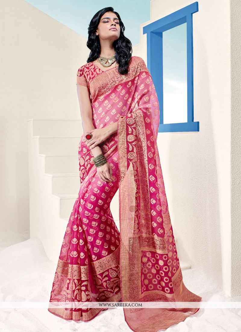 Brasso Georgette Hot Pink Casual Saree