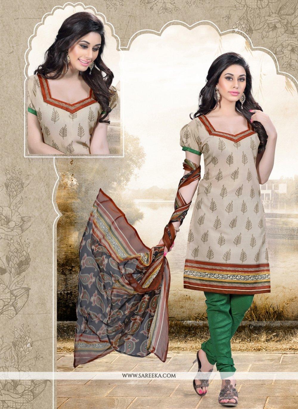 Cotton   Print Work Churidar Designer Suit