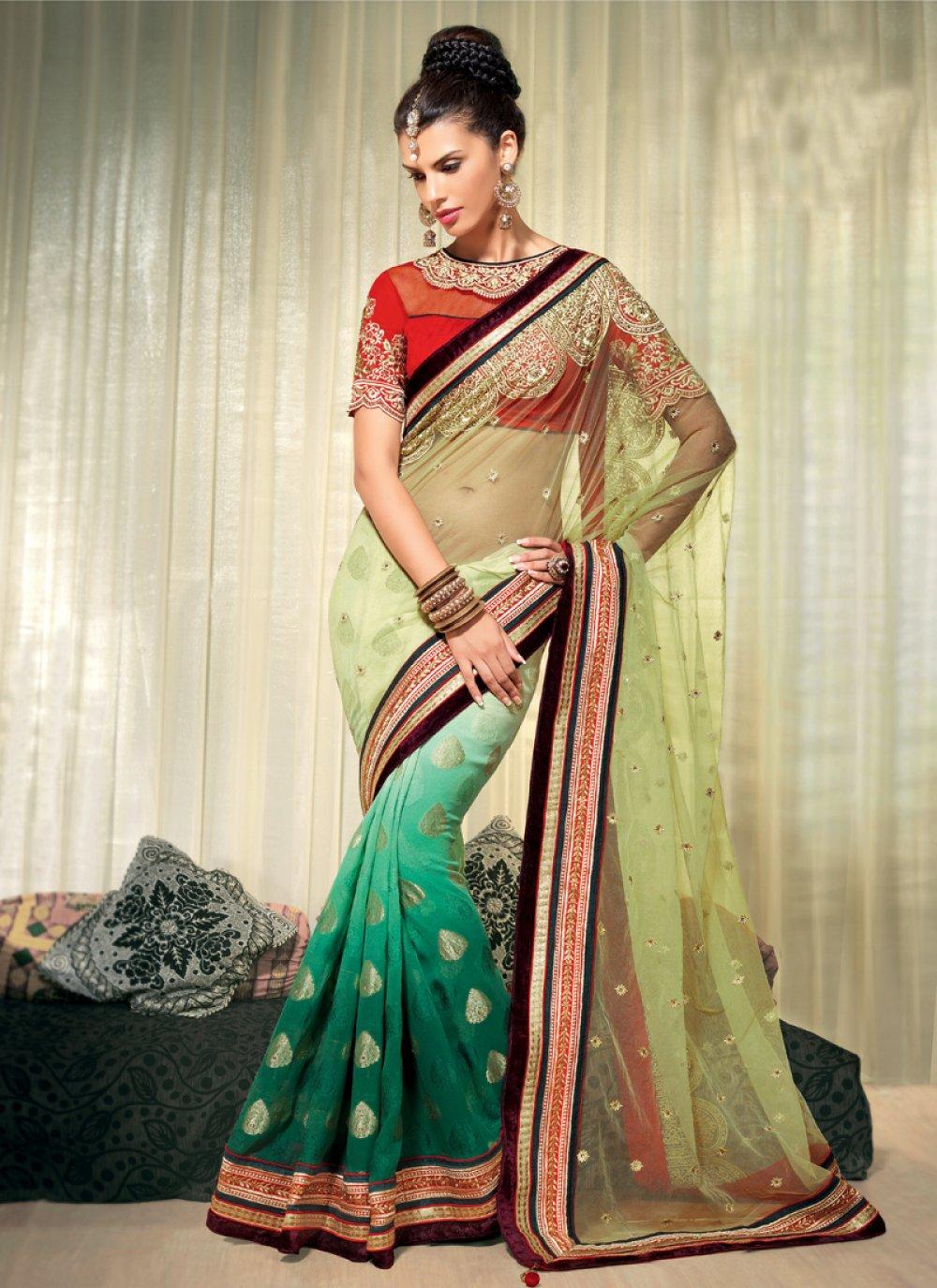 Green Shaded Pure Viscose Designer Saree
