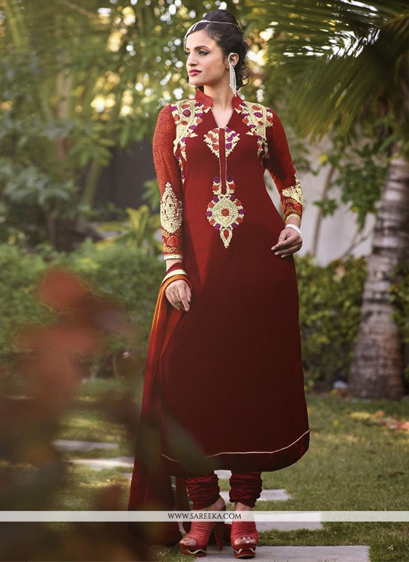 Maroon Embroidery Work Churidar Suit