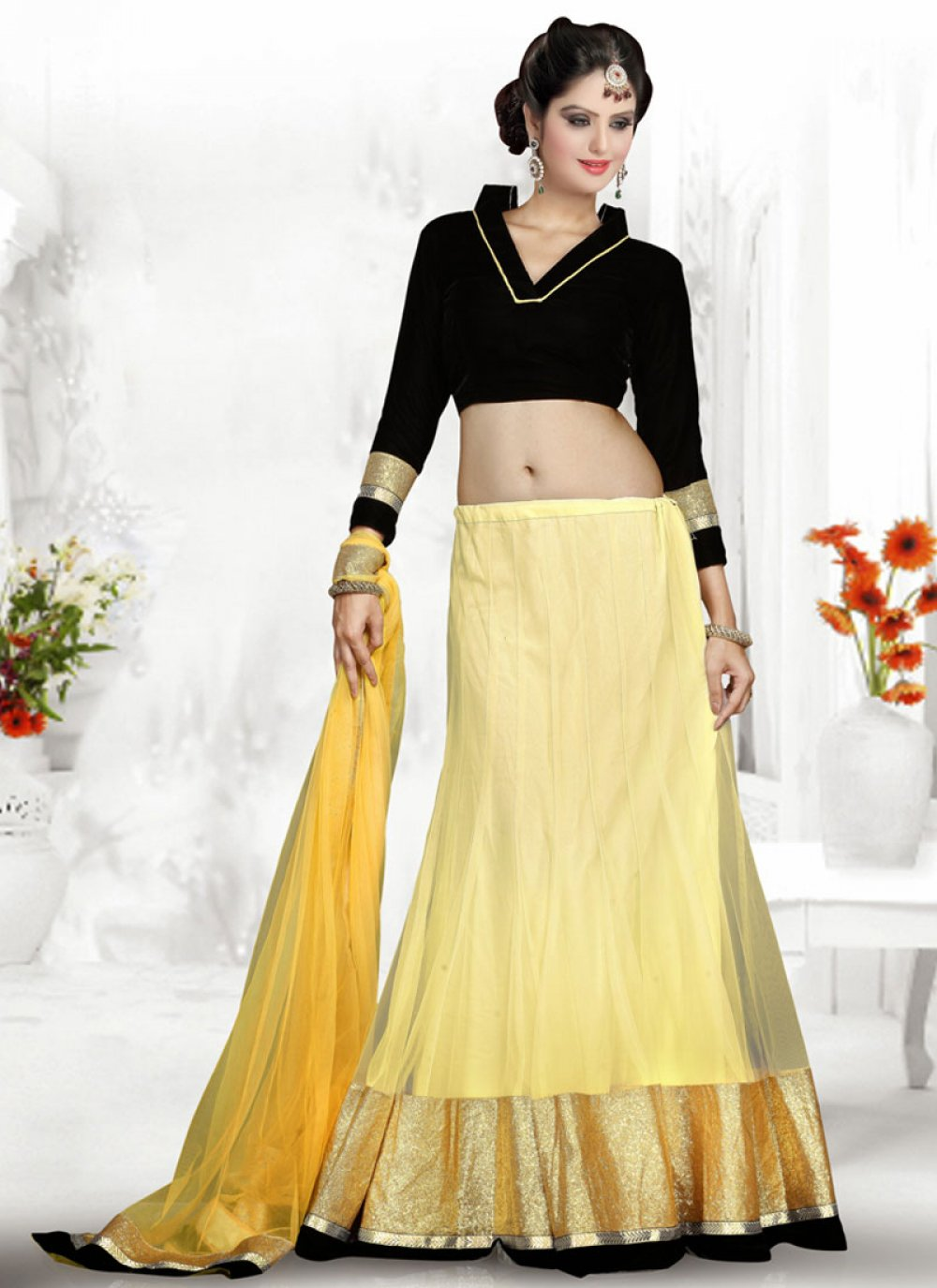 Yellow And Black Georgette Lehenga Choli