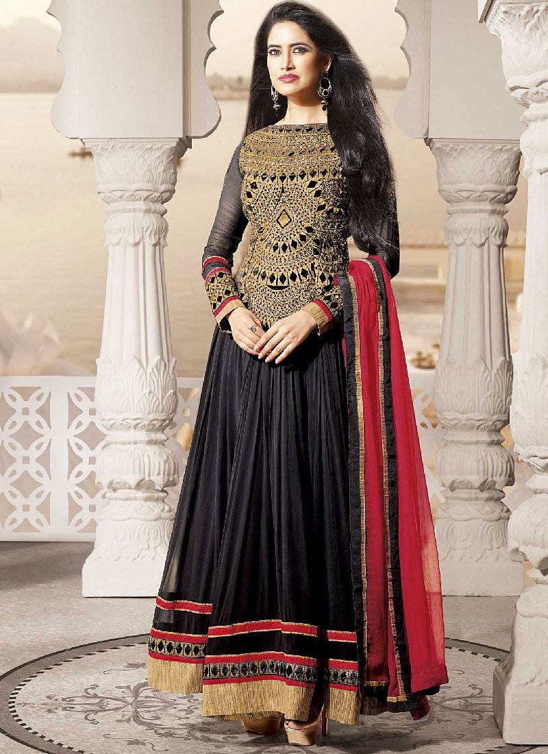 Black Resham Goergette Long Anarkali Suit