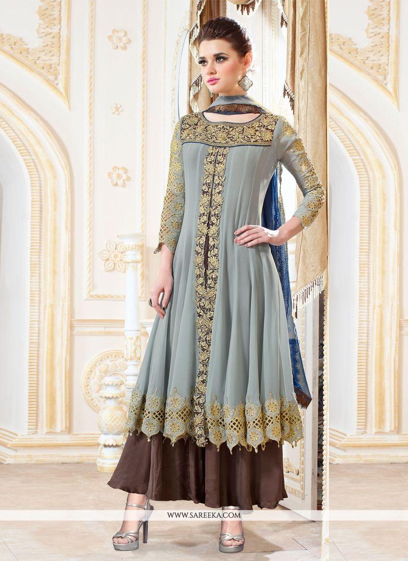 Grey Resham Work Designer Palazzo Salwar Suit