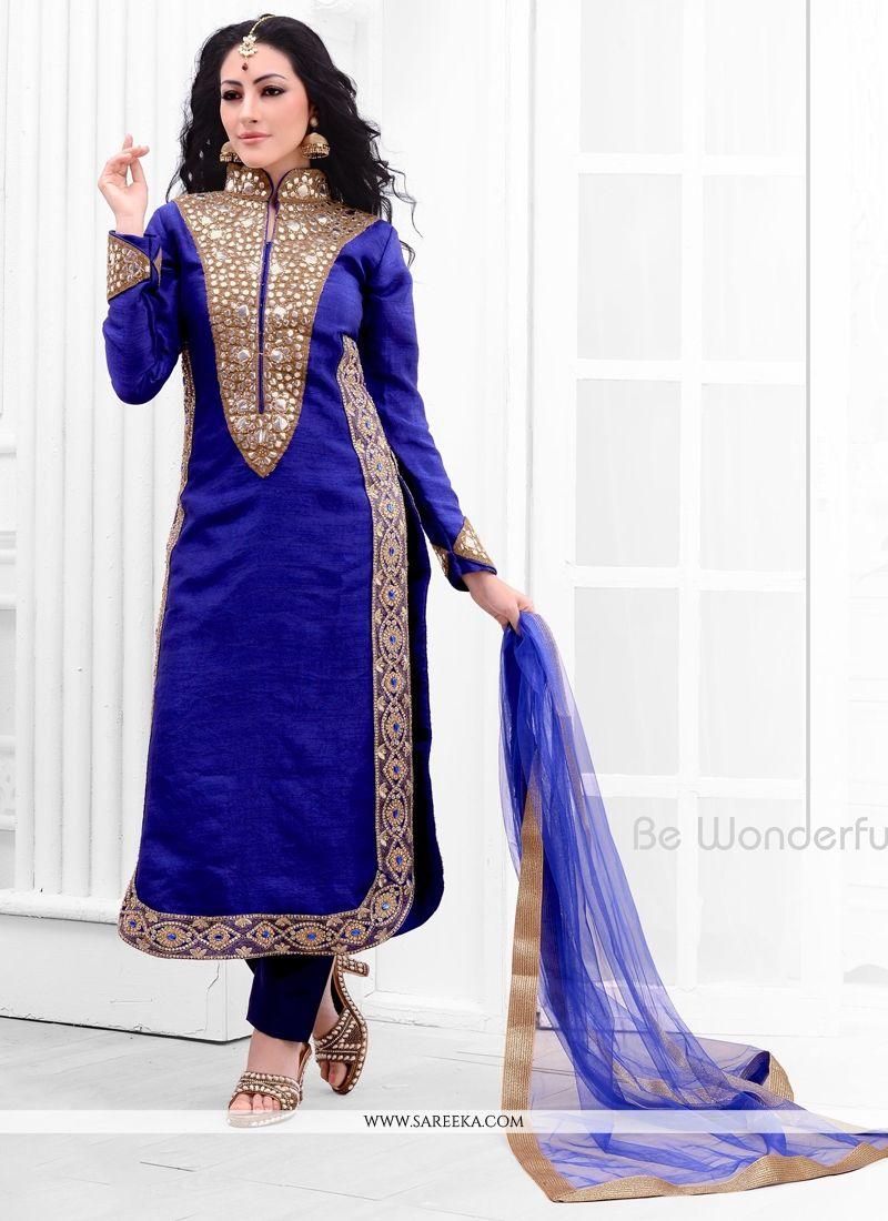 Resham Work Blue Raw Silk Designer Salwar Suit