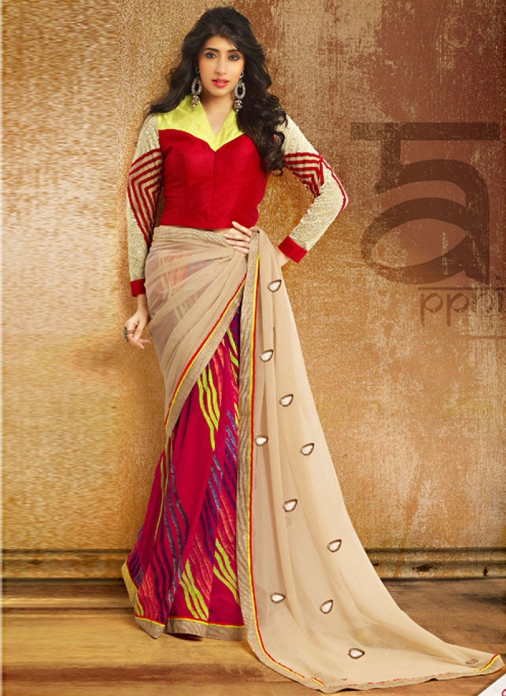 Exclusive Red And Cream Patch Border Saree