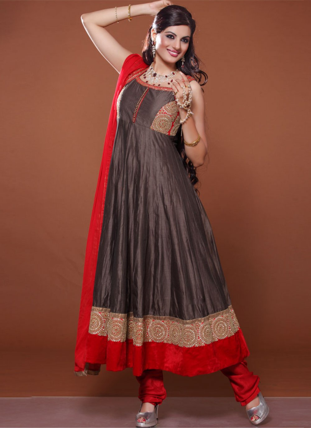 Exclusive Red And Grey Patch Border Georgette Anarkali Suit